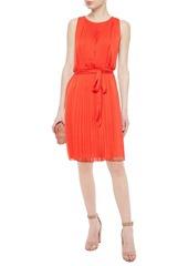 Diane Von Furstenberg Woman Belted Pleated Crepon Dress Bright Orange