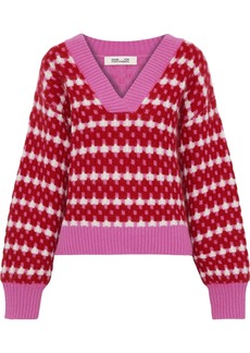 Diane Von Furstenberg Woman Ribbed Jacquard-knit Sweater Multicolor