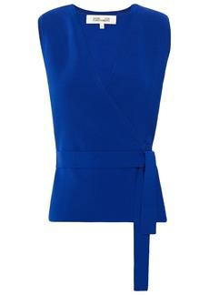 Diane Von Furstenberg Woman Rikki Stretch-knit Wrap Top Cobalt Blue