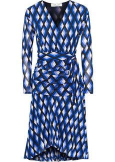 Diane Von Furstenberg Woman Rilynn Wrap-effect Printed Stretch-mesh Dress Blue
