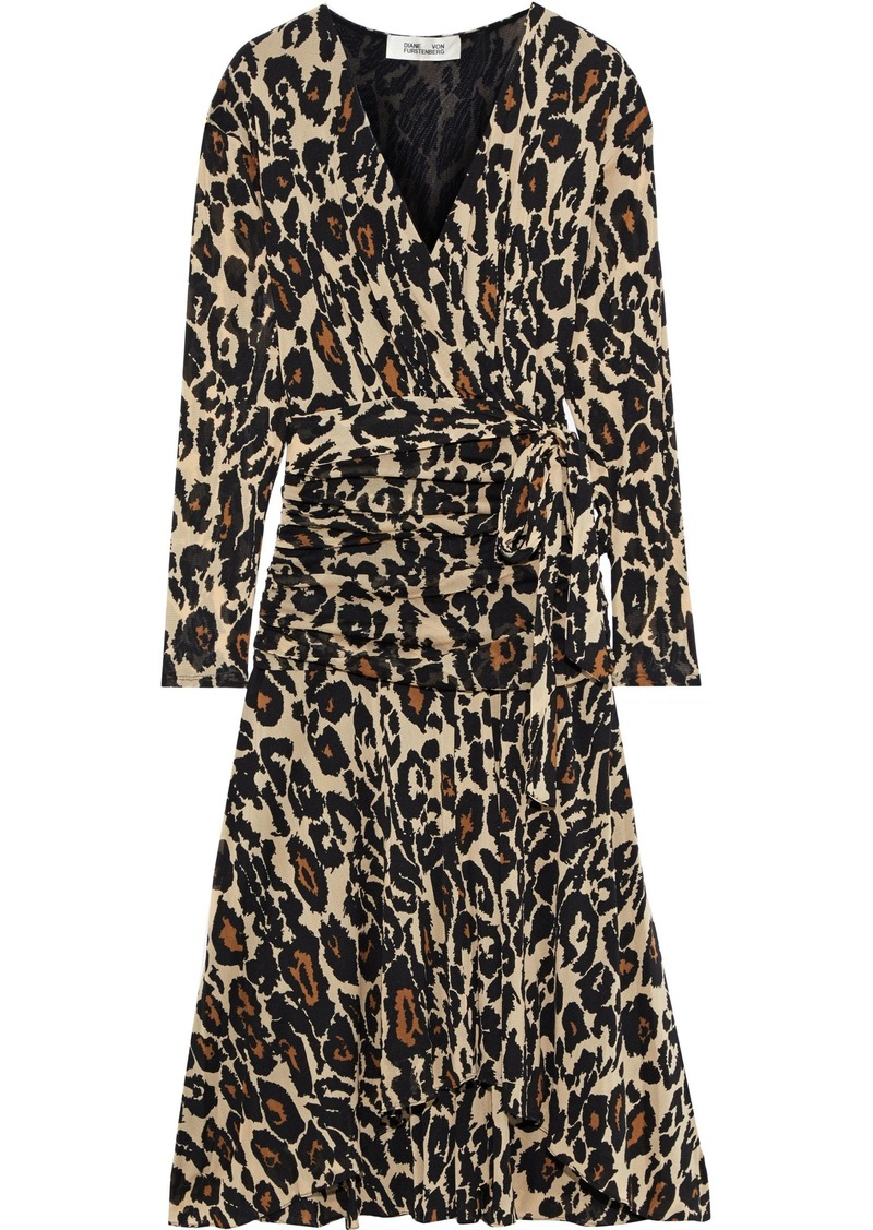 Diane Von Furstenberg Woman Rilynn Wrap-effect Printed Stretch-mesh Dress Animal Print