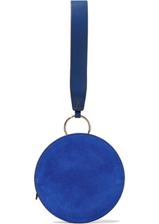 Diane Von Furstenberg Woman Circle Suede And Leather Clutch Blue