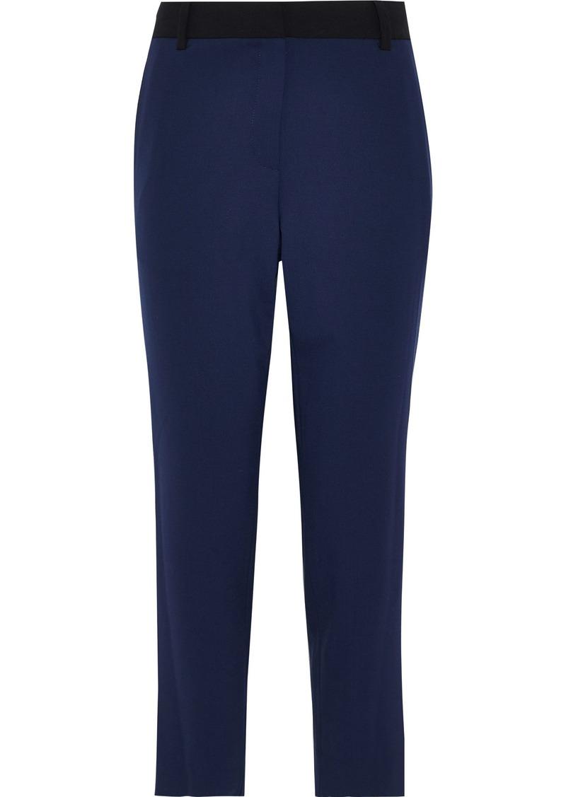 Diane Von Furstenberg Woman Cropped Two-tone Wool-blend Straight-leg Pants Indigo
