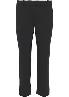 Diane Von Furstenberg Woman Cropped Two-tone Wool-blend Straight-leg Pants Black