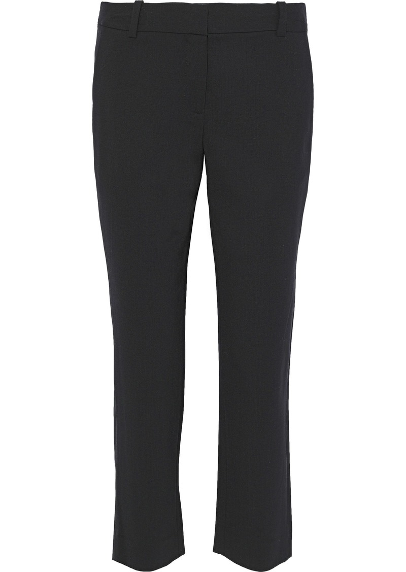 Diane Von Furstenberg Woman Cropped Two-tone Wool-blend Straight-leg Pants Black