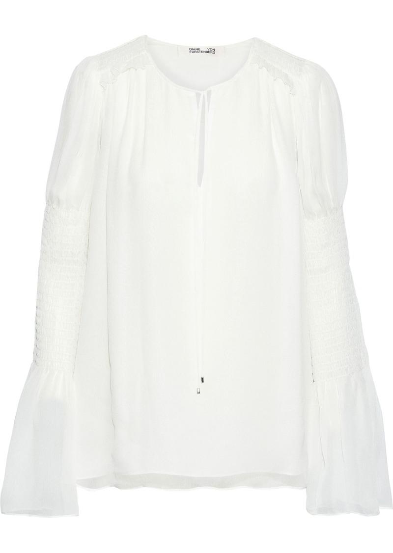 Diane Von Furstenberg Woman Rohini Shirred Georgette Blouse Ivory