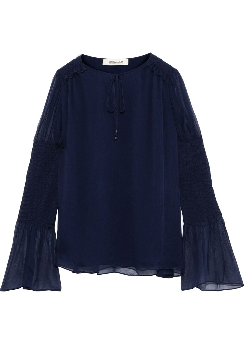 Diane Von Furstenberg Woman Rohini Shirred Silk-georgette Blouse Navy