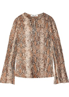 Diane Von Furstenberg Woman Rohini Shirred Snake-print Silk-georgette Blouse Animal Print
