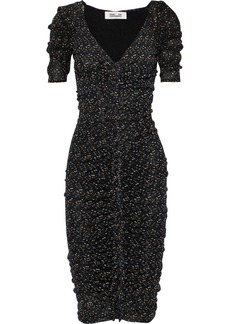 Diane Von Furstenberg Woman Romana Ruched Polka-dot Mesh Dress Black