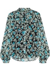 Diane Von Furstenberg Woman Pussy-bow Floral-print Silk-georgette Blouse Turquoise