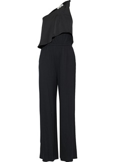 Diane Von Furstenberg Woman Rosalyee One-shoulder Crepe De Chine-paneled Stretch-jersey Jumpsuit Black