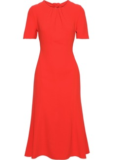 Diane Von Furstenberg Woman Rose Knotted Crepe Dress Papaya