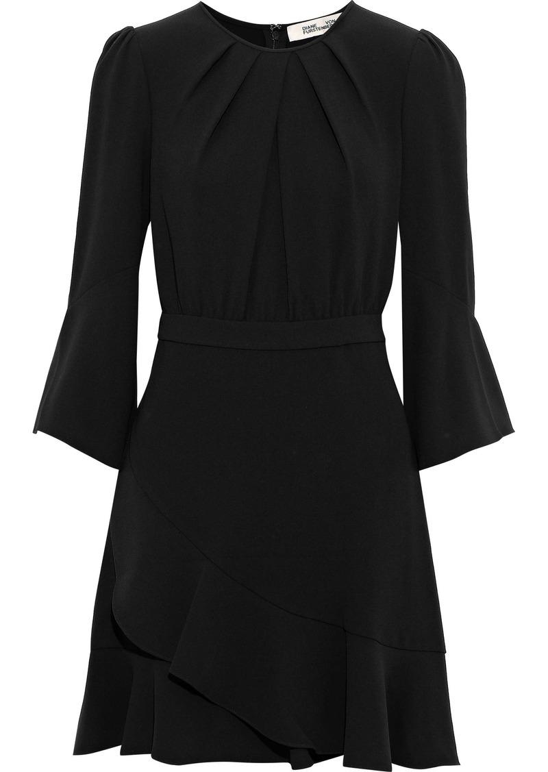Diane Von Furstenberg Woman Rosina Ruffle-trimmed Crepe Mini Dress Black