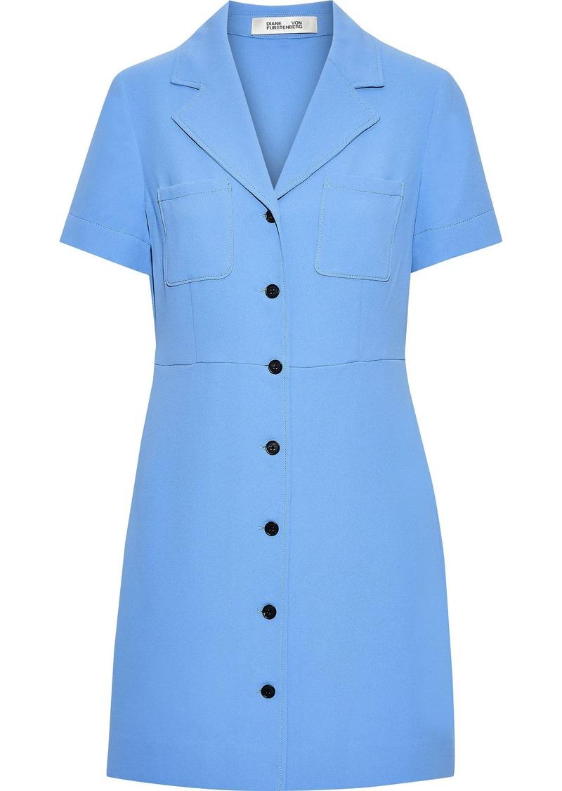 Diane Von Furstenberg Woman Crepe Mini Shirt Dress Light Blue