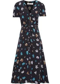 Diane Von Furstenberg Woman Cecilia Ruched Floral-print Crepe Midi Dress Multicolor