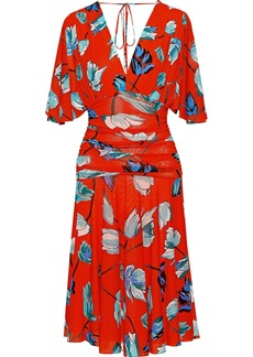 Diane Von Furstenberg Woman Ruched Floral-print Gauze Dress Tomato Red