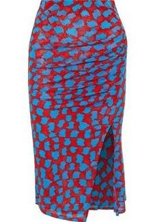 Diane Von Furstenberg Woman Ruched Floral-print Mesh Skirt Red