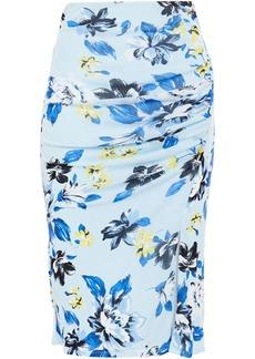 Diane Von Furstenberg Woman Willa Ruched Printed Stretch-mesh Skirt Light Blue