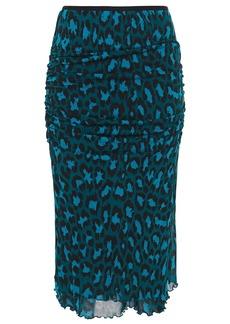 Diane Von Furstenberg Woman Ruched Leopard-print Stretch-jersey Midi Skirt Petrol