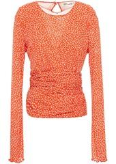 Diane Von Furstenberg Woman Ruched Printed Stretch-mesh Top Papaya