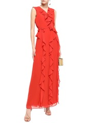 Diane Von Furstenberg Woman Ruffled Georgette Maxi Wrap Dress Brick
