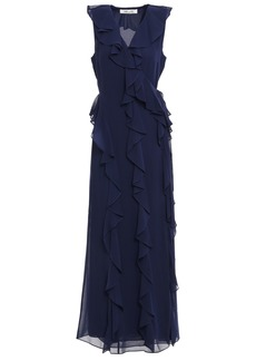 Diane Von Furstenberg Woman Ruffled Georgette Maxi Wrap Dress Navy