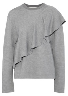 Diane Von Furstenberg Woman Ruffled Knitted Sweatshirt Gray