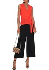 Diane Von Furstenberg Woman Saffa Pointelle-knit Wrap Top Bright Orange