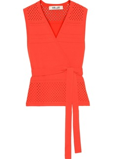 Diane Von Furstenberg Woman Saffa Pointelle-knit Wrap Top Bright Orange