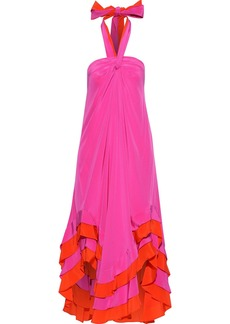 Diane Von Furstenberg Woman Sage Asymmetric Ruffled Silk Halterneck Dress Fuchsia
