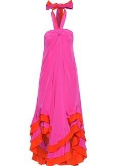 Diane Von Furstenberg Woman Sage Asymmetric Ruffled Silk Halterneck Midi Dress Fuchsia