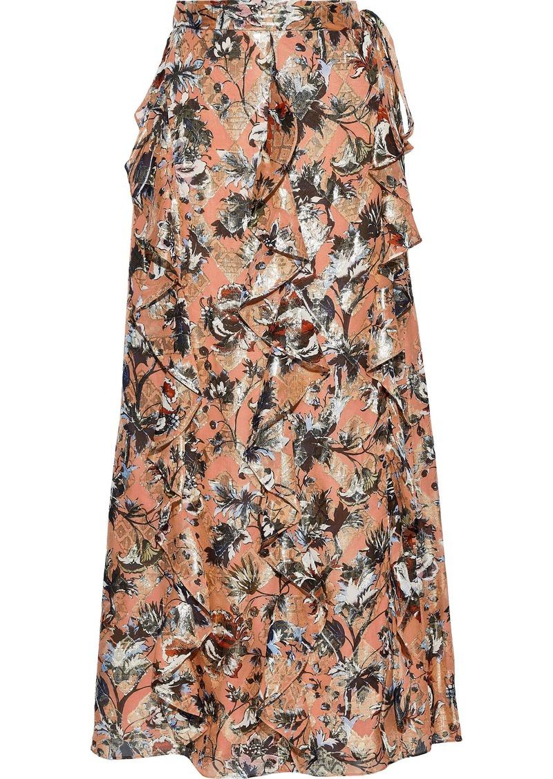 Diane Von Furstenberg Woman Salona Fil Coupé Silk-blend Chiffon Maxi Wrap Skirt Antique Rose