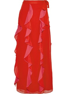 Diane Von Furstenberg Woman Salona Ruffled Two-tone Silk-georgette Maxi Wrap Skirt Red