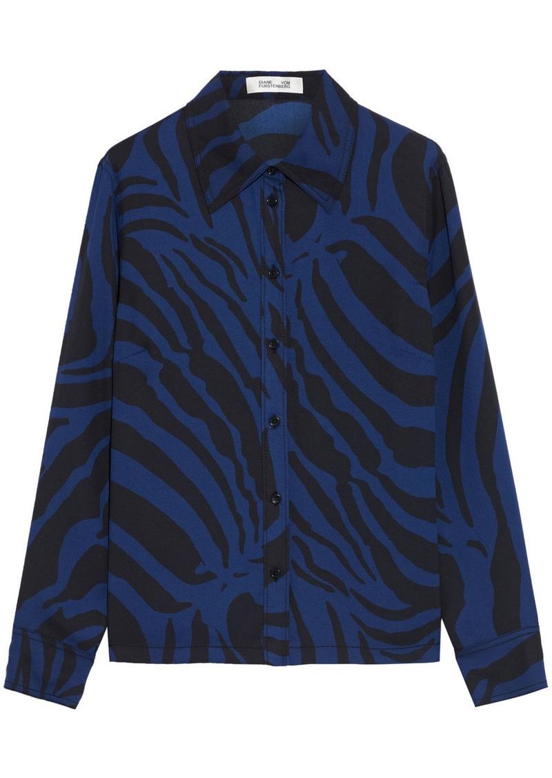 Diane Von Furstenberg Woman Samson Zebra-print Crepe Shirt Black