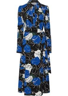 Diane Von Furstenberg Woman Sana Printed Stretch-jersey Midi Wrap Dress Blue