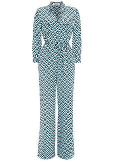 Diane Von Furstenberg Woman Belted Printed Silk Crepe De Chine Jumpsuit Turquoise