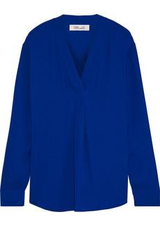 Diane Von Furstenberg Woman Sanorah Crepe De Chine Blouse Royal Blue