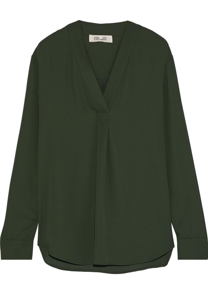 Diane Von Furstenberg Woman Sanorah Crepe De Chine Blouse Dark Green