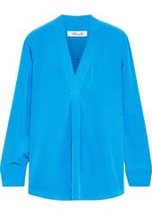 Diane Von Furstenberg Woman Sanorah Silk Crepe De Chine Blouse Blue