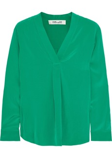 Diane Von Furstenberg Woman Sanorah Silk Crepe De Chine Blouse Green