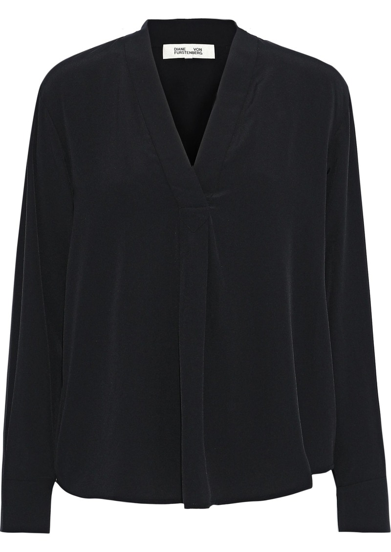 Diane Von Furstenberg Woman Sanorah Silk Crepe De Chine Blouse Black