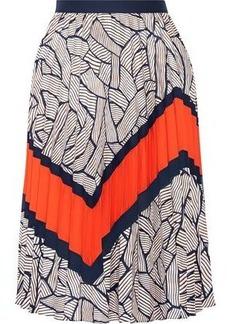 Diane Von Furstenberg Woman Saphira Pleated Printed Crepe De Chine Skirt Navy
