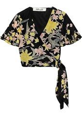 Diane Von Furstenberg Woman Sara Cropped Printed Cotton And Silk-blend Wrap Top Black