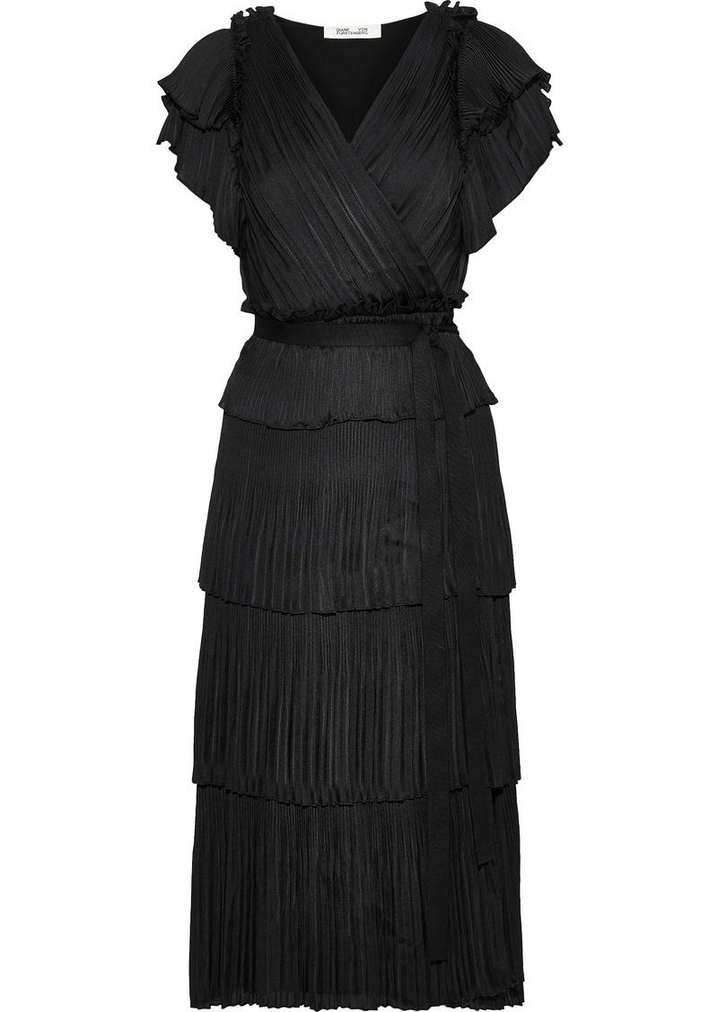 Diane Von Furstenberg Woman Sasha Tiered Plissé Crepe De Chine Midi Wrap Dress Black