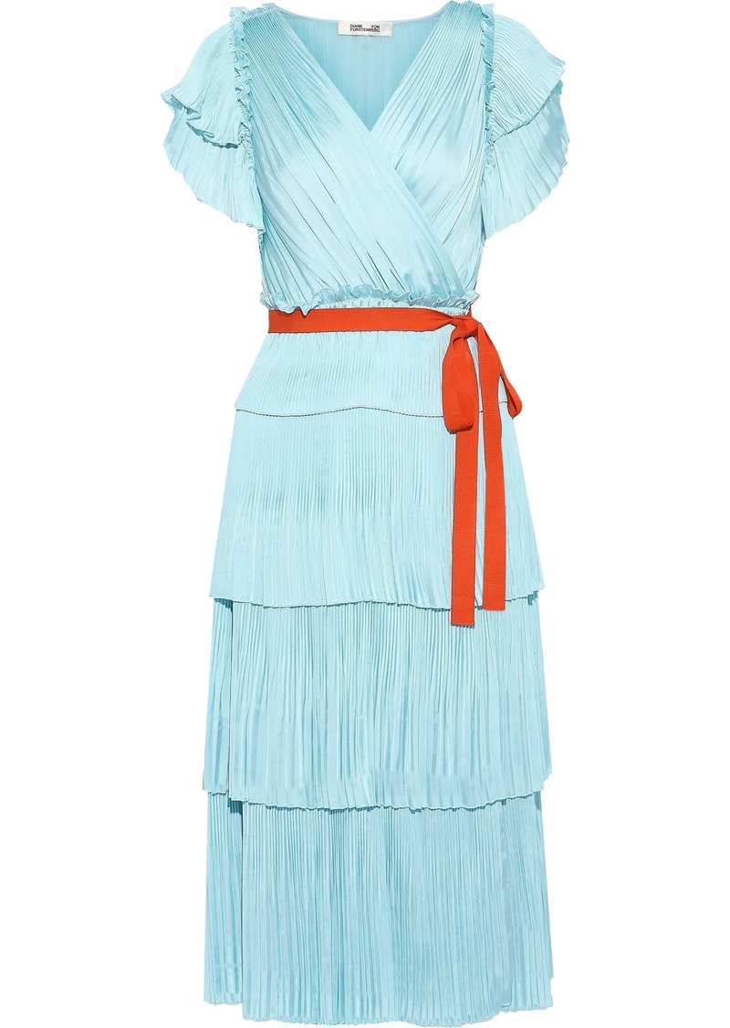 Diane Von Furstenberg Woman Sasha Tiered Plissé Crepe De Chine Midi Wrap Dress Sky Blue