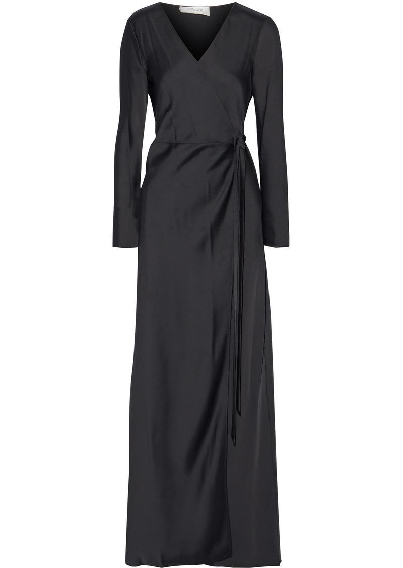 Diane Von Furstenberg Woman Satin-crepe Maxi Wrap Dress Black