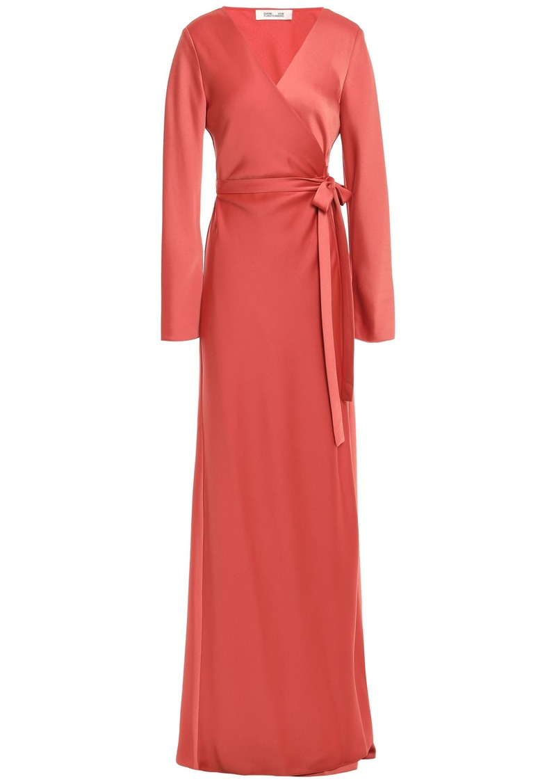 Diane Von Furstenberg Woman Satin-crepe Maxi Wrap Dress Brick