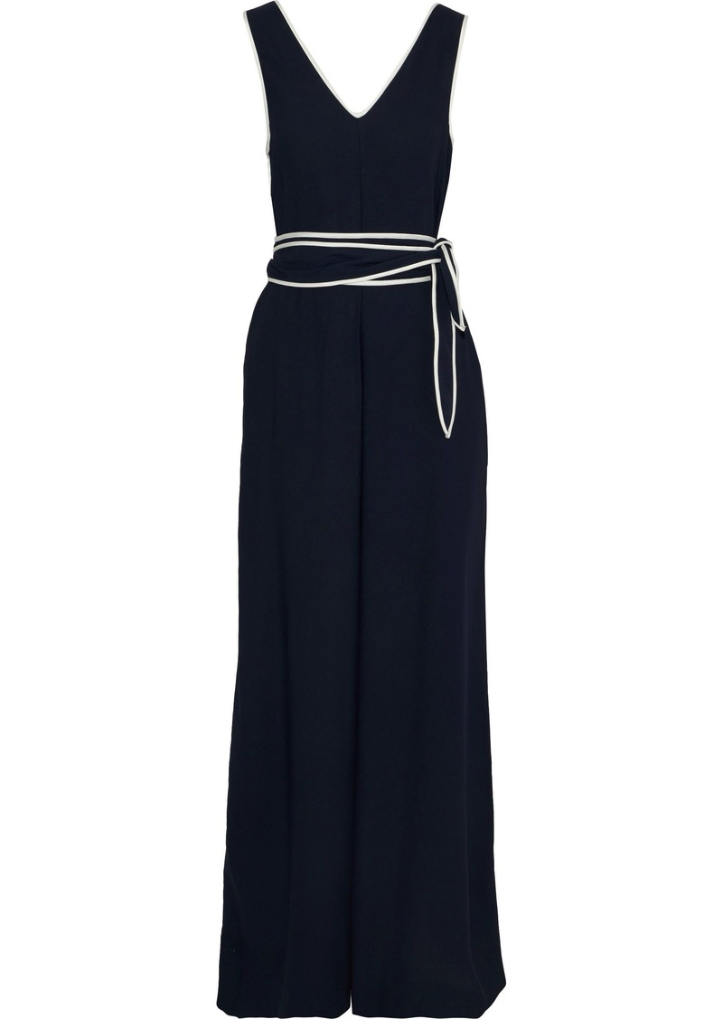 Diane Von Furstenberg Woman Satin-trimmed Belted Crepe Jumpsuit Midnight Blue