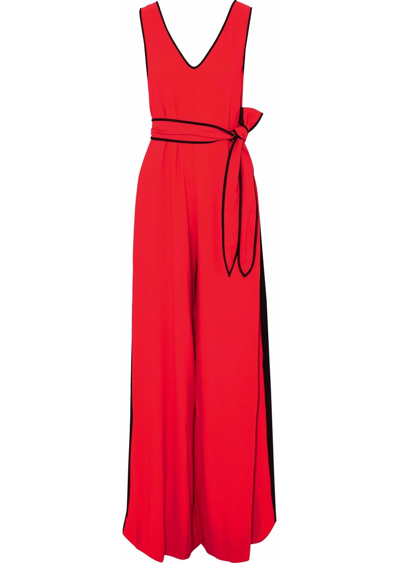 Diane Von Furstenberg Woman Satin-trimmed Belted Crepe Jumpsuit Tomato Red