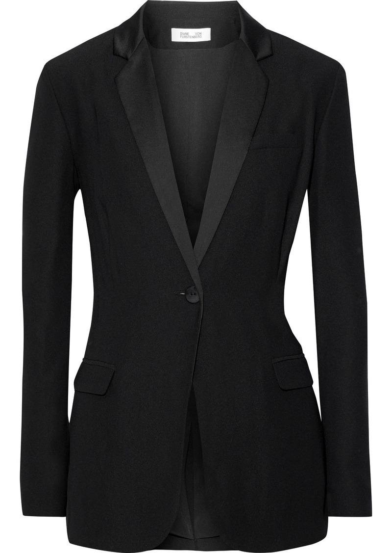 Diane Von Furstenberg Woman Satin-trimmed Crepe Blazer Black
